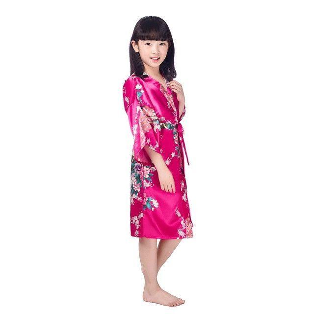 D1686 New Kid Silk floral Robe Kimono Robes Bridesmaid Flower Girl ...