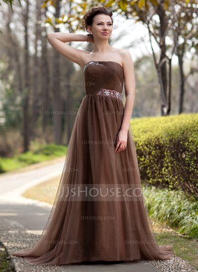empire strapless sweep train tulle mother of the bride dress with