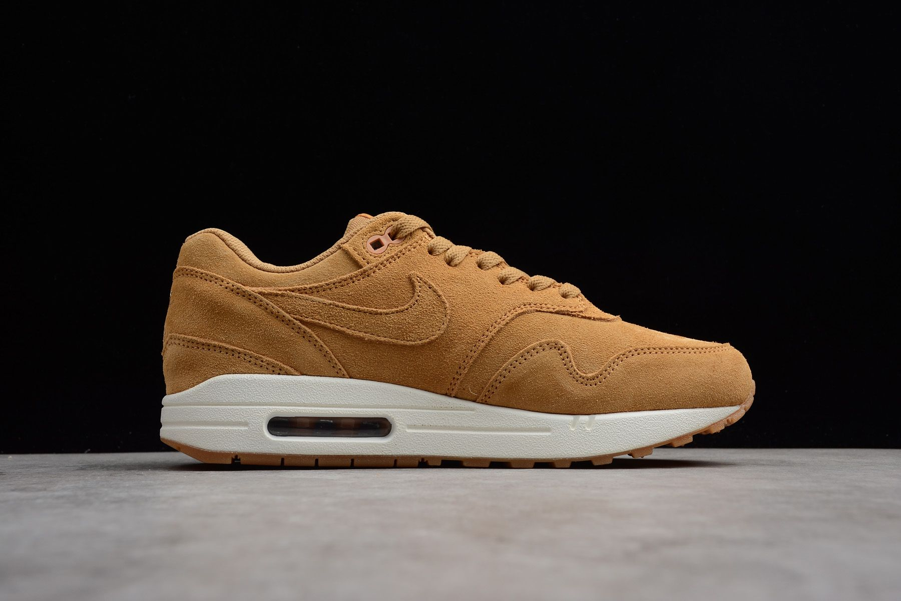 "super popular adefd ebd68 Nike Air Max 1 Premium ""Wheat"" Flax Flax-Gum Medium Brown 875844"