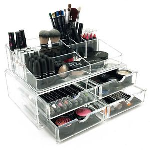 New deluxe makeupjewelry organizer large acrylic tiered drawer