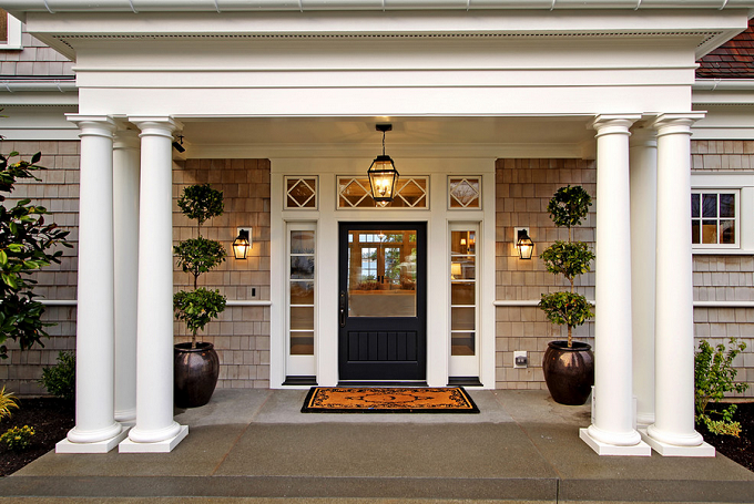 A New England Home In The West Calling It Home Traditional Front Doors Porch Design Exterior Front Doors