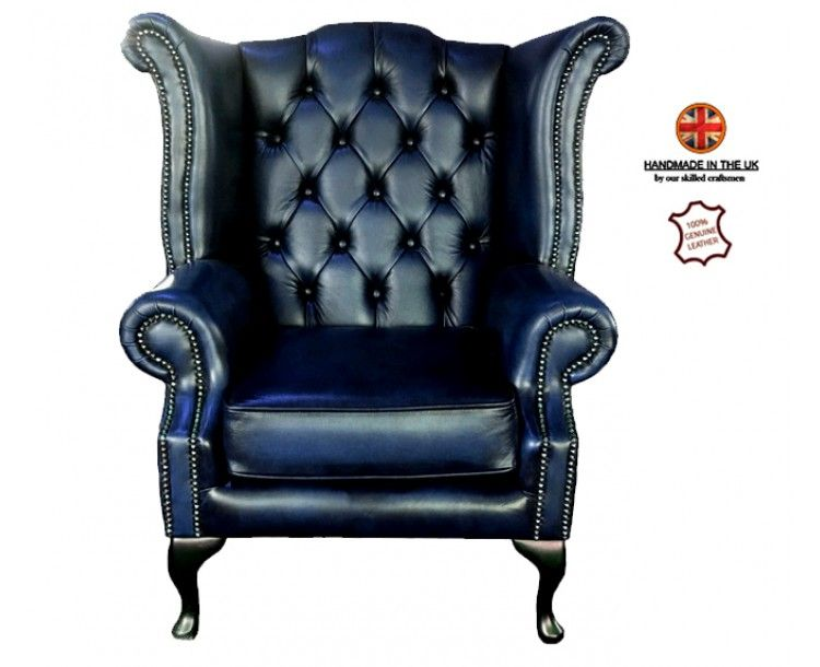 Fabulous Chesterfield Genuine Leather Antique Blue Queen Anne Pdpeps Interior Chair Design Pdpepsorg