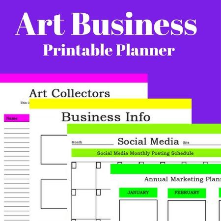 Art Business Printable Planner Art market, Selling art and Artist - free excel spreadsheet templates for small business
