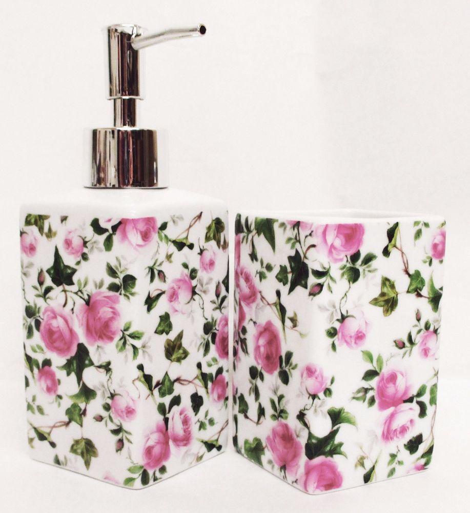 Ivy Rose Pink Soap Liquid Pump Dispenser & Tumbler Bath Porcelain ...