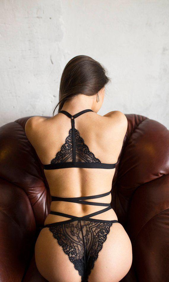 4c18be673d Strappy lingerie. Black strappy lingerie set