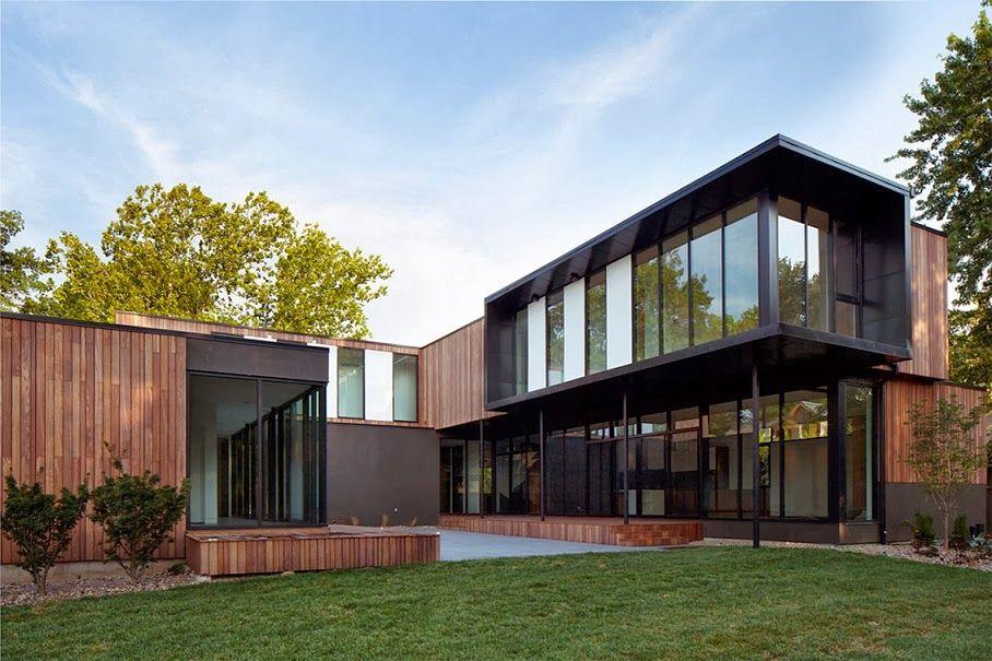 fachada-madera-casa-moderna CABAÑAS Pinterest House - fachada madera
