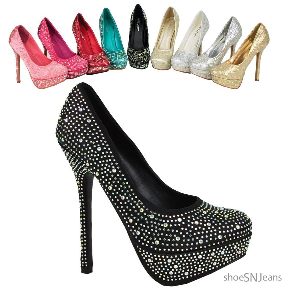 Women's High Heels Stiletto Pumps Party Dressy Prom Dance Sequins Shoes Delicacy #Delicacy #HeelsPumps #Prom