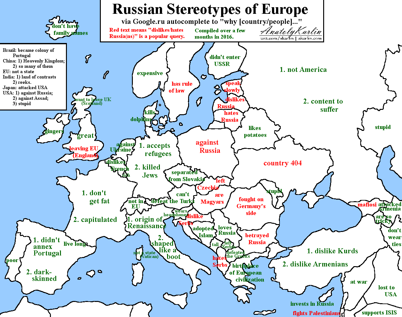 Russian stereotypes of Europe via Googleru autocomplete More