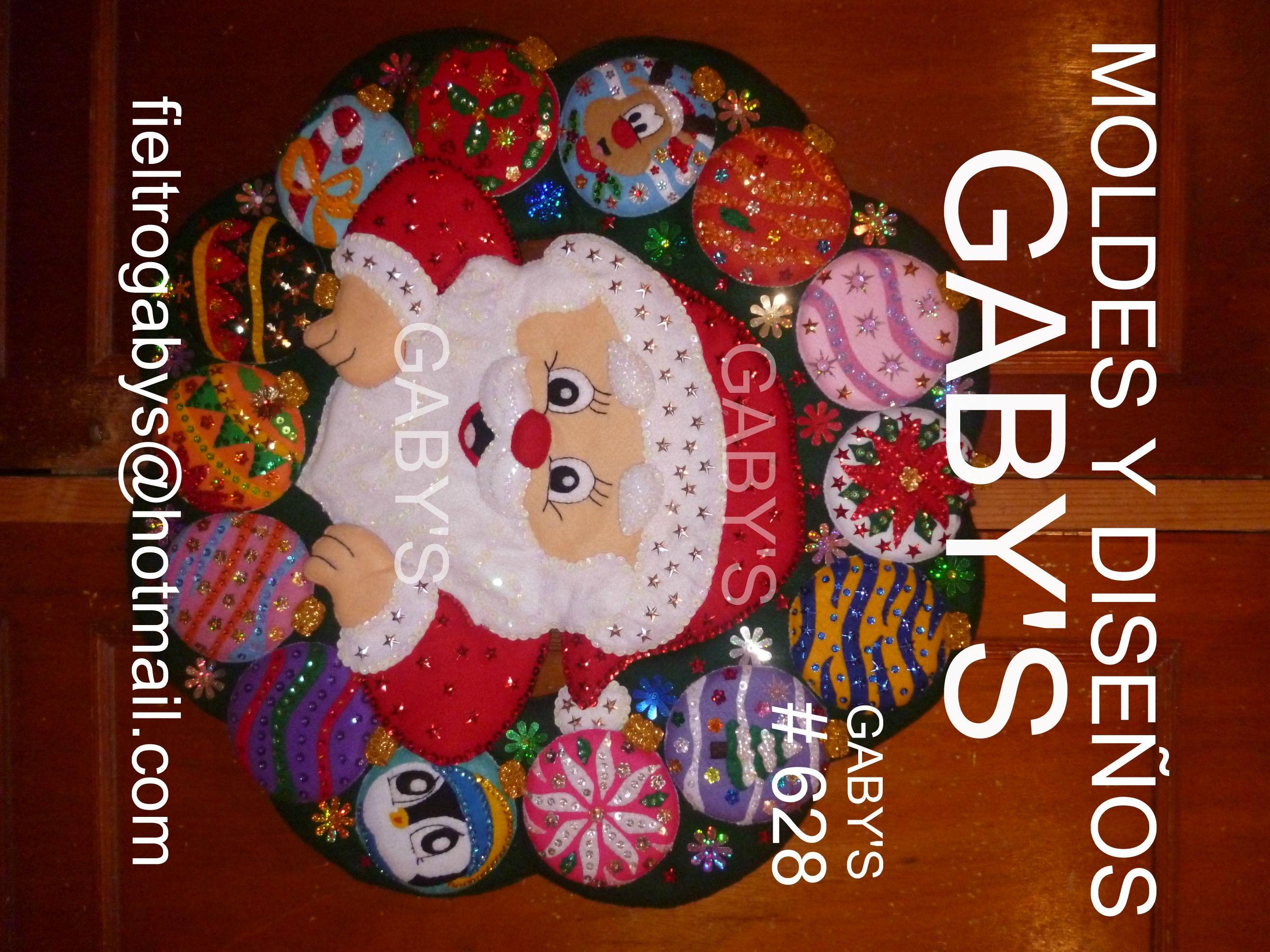 Corona de santa con esferas moldes en fieltro gaby 39 s - Coronas navidenas de fieltro ...