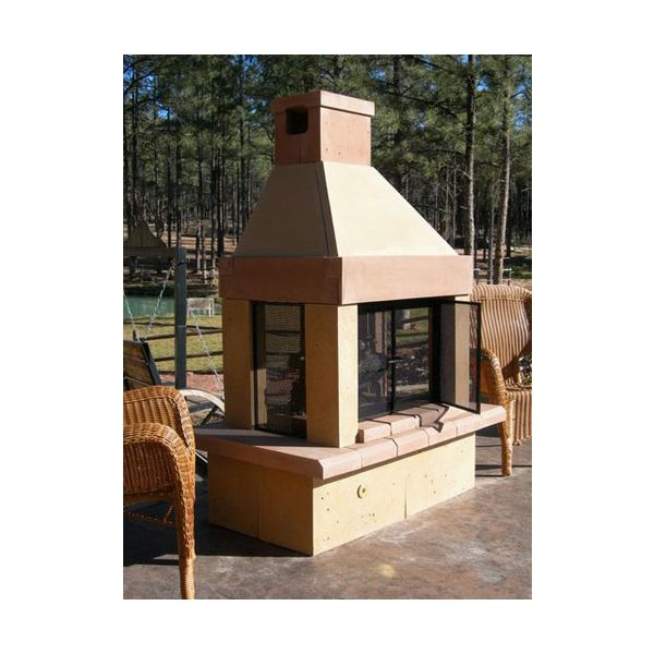 Mirage Stone SeeThrough Wood Burning Outdoor Fireplace Home
