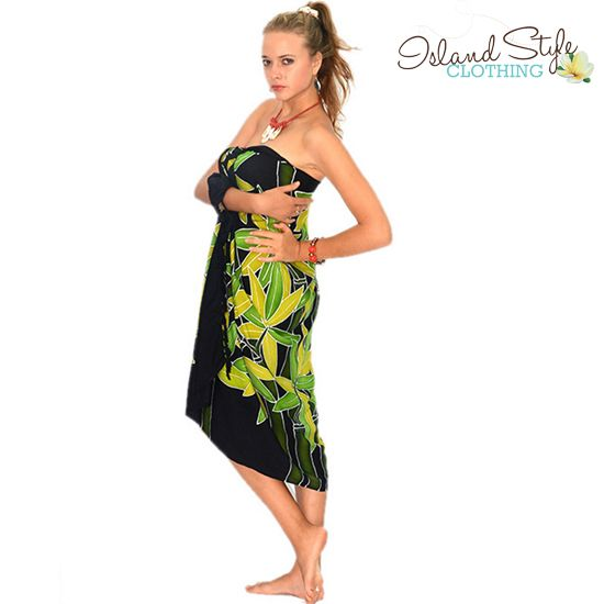 5b7c2f870d Ladies Sarong Hand-Painted - Black & Green Bamboo Design - Hawaiian Style.  Luau, Beachwear, resortwear