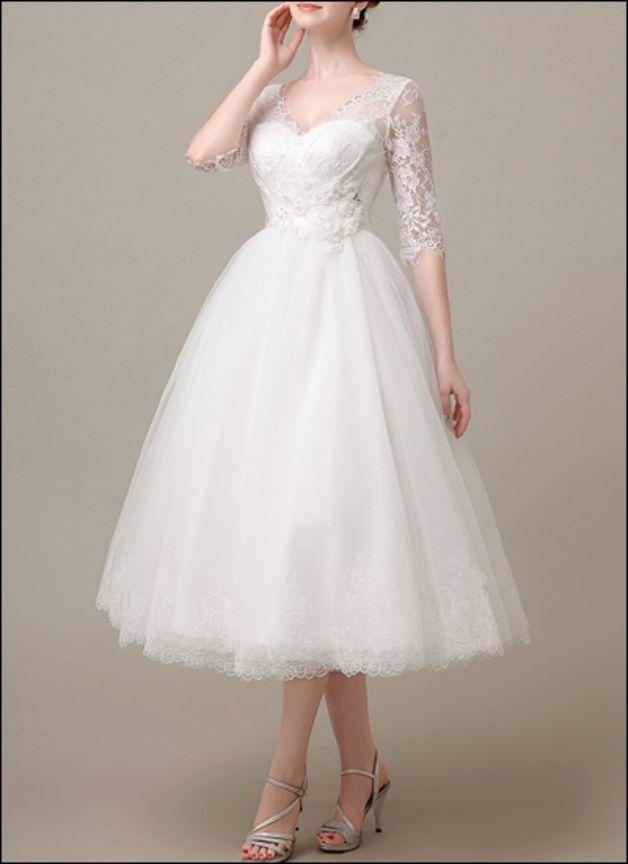 50er Jahre Vintage Brautkleid mit Spitzenärmeln   50er jahre, Tüll ...