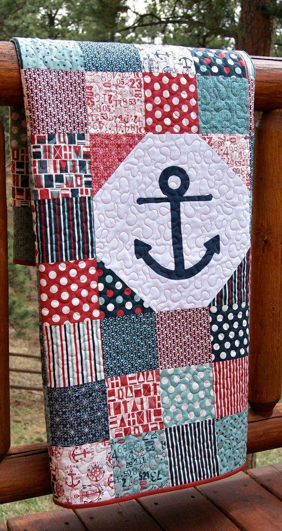 Quilt Baby Toddler Anchor Nautical Crib Nursery by PiecesOfPine ... : nautical patchwork quilt - Adamdwight.com