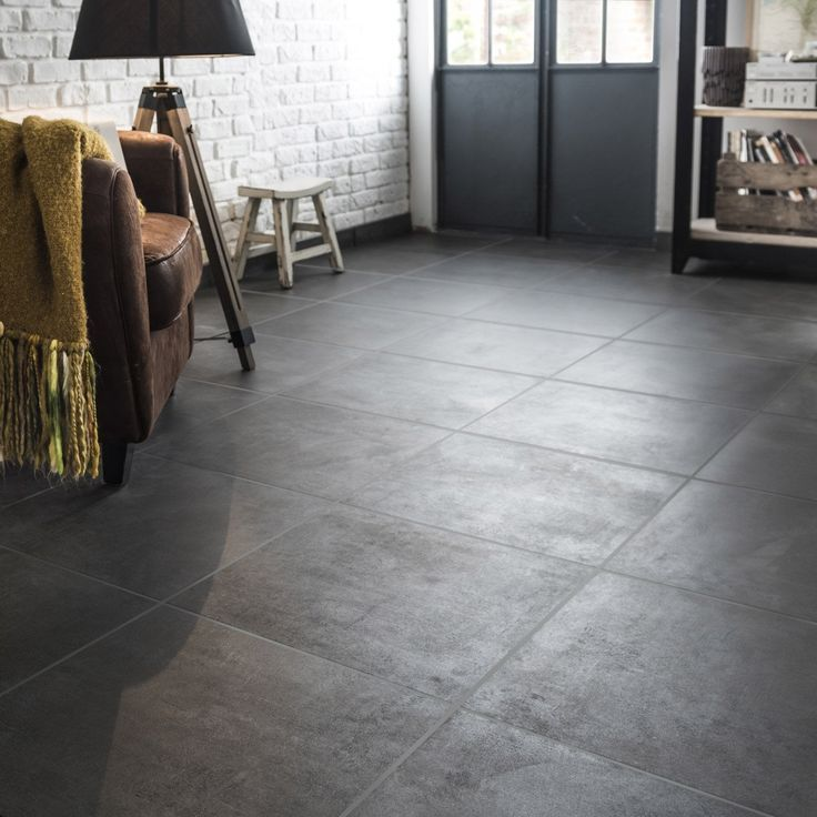 Floor and wall tiles strong anthracite concrete effect Alma l.45 x W.45 cm