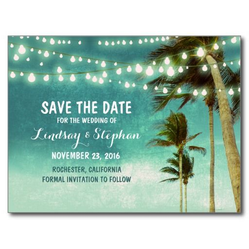 Beach teal ombre save the date postcards   Date ideas, Ombre and ...