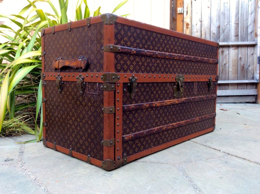 LOUIS VUITTON Antique Monogram Travel Wardrobe Steamer Trunk chest  vintage rare