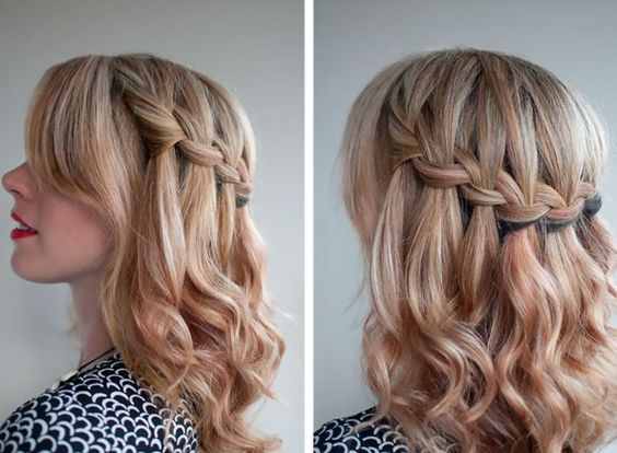 Waterfall Braid For Mid Length Hair Half Up Half Down Braid Long Hair Hairdo Ideas Prom Hair Medium Medium Length Hair Styles Hair Styles