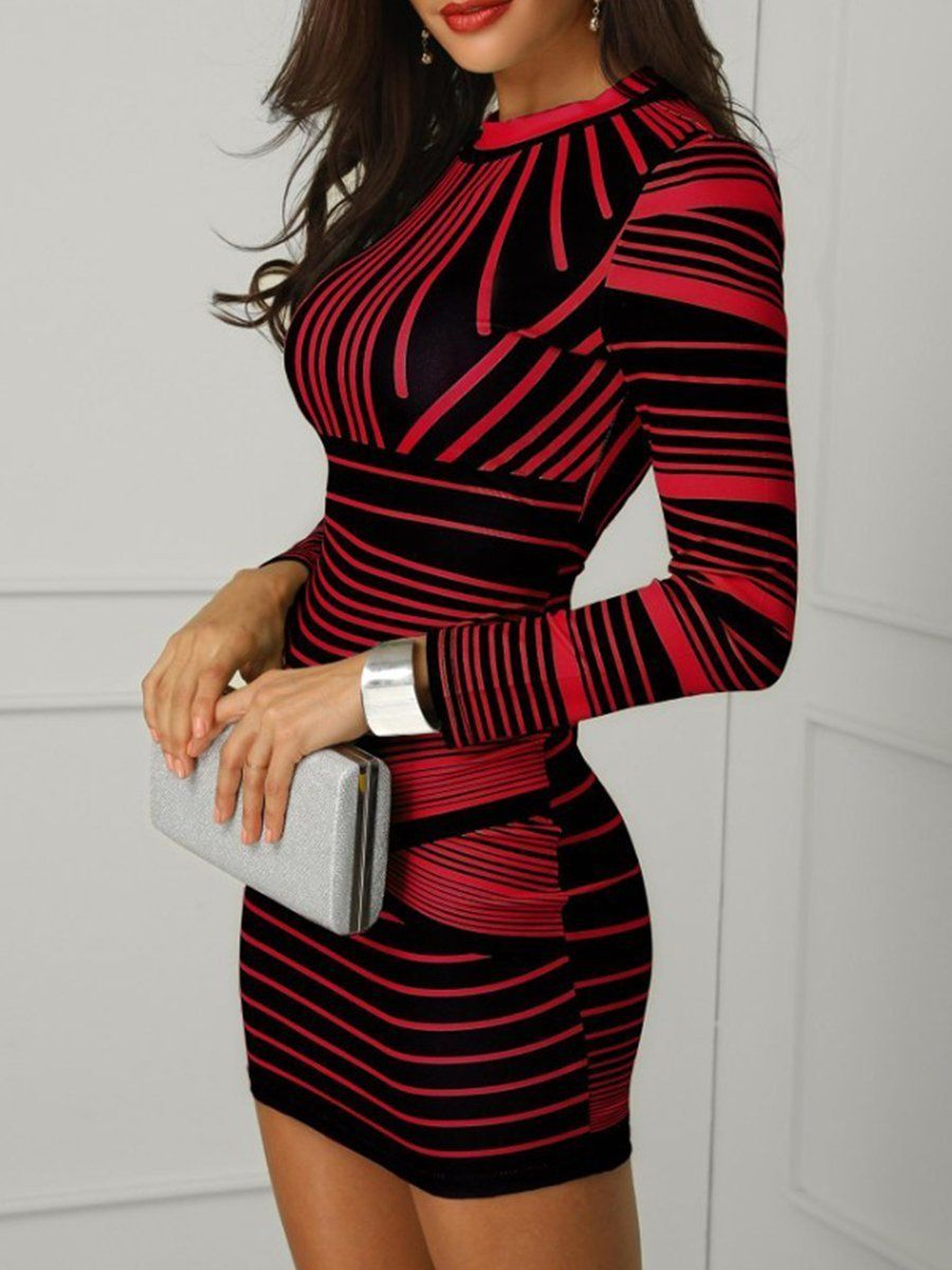 Round Neck Zips Printed Bodycon Dresses Long Sleeve Bodycon Dress Bodycon Dress With Sleeves Striped Bodycon Dress [ 1200 x 900 Pixel ]