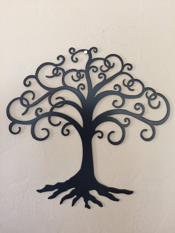 Swirly Tree Of Life Metal Wall Art Decor
