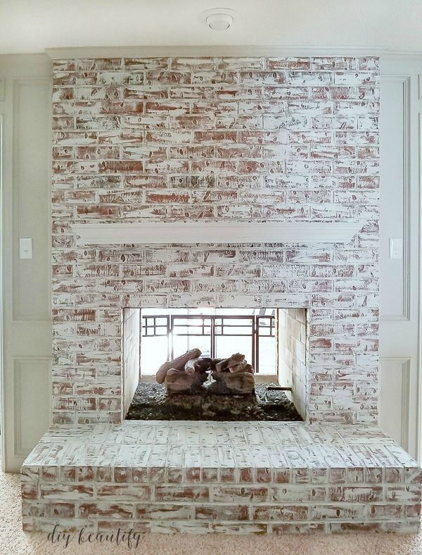 How To Update A Brick Fireplace With Chalk Paint Update Brick Fireplace Painted Brick Fireplaces Red Brick Fireplaces