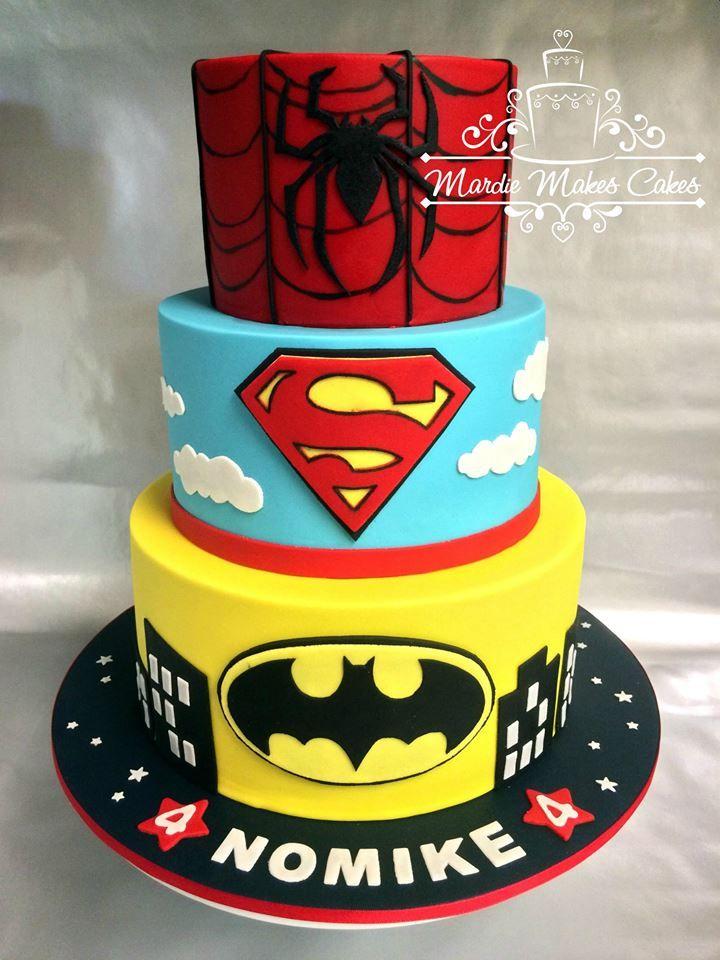 batman spiderman superman cake kuchen torten pinterest torten torten f r jungs und. Black Bedroom Furniture Sets. Home Design Ideas
