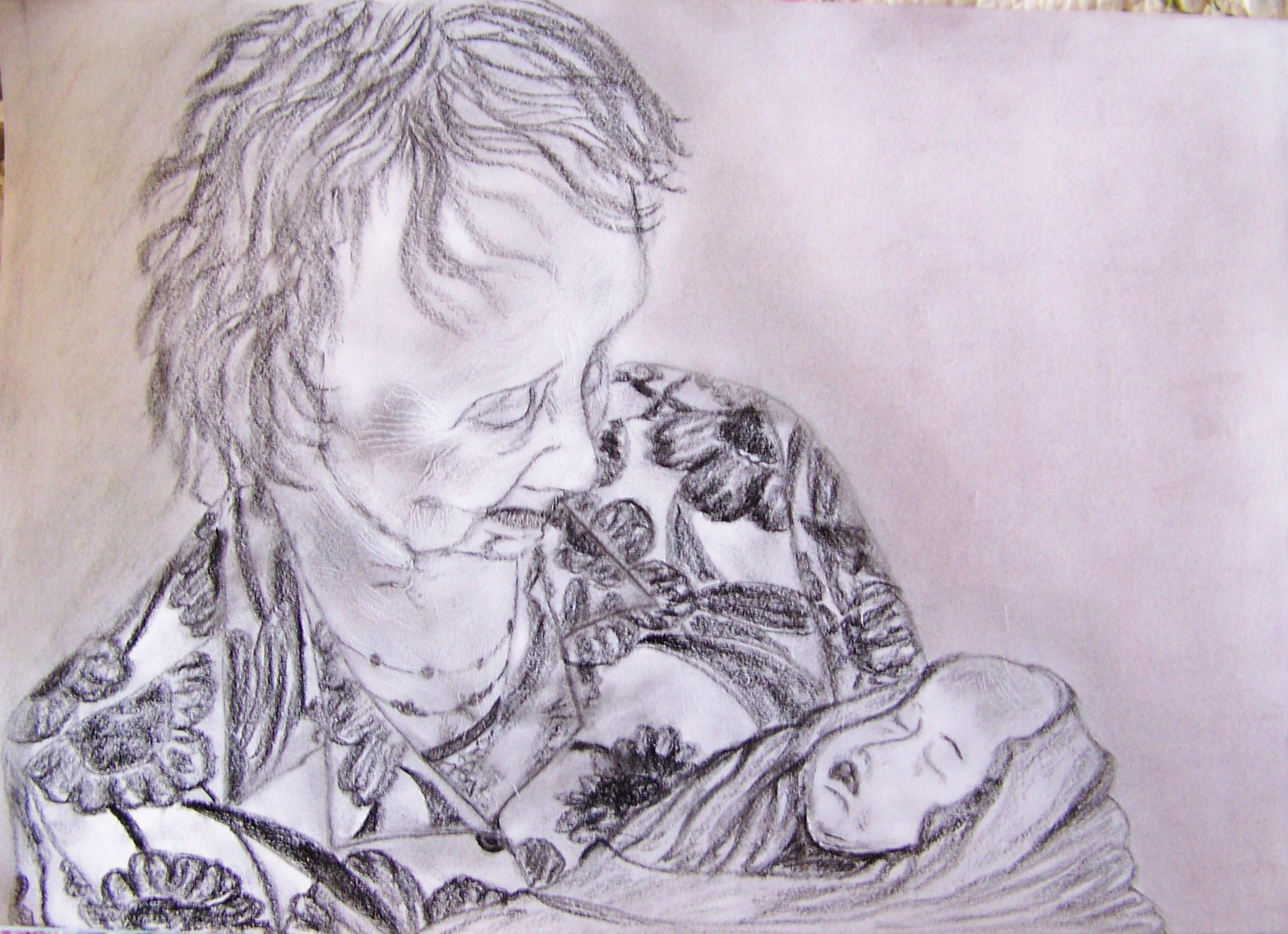 Pencil and charcoal on paper.  My grandmother holding her great granddaughter a day after her birth.  Tender moment.