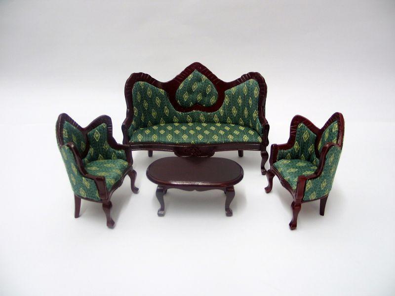 Lounge Wohnzimmer-Set Mahagoni Bezug grün 4 teilig Puppenhaus 112