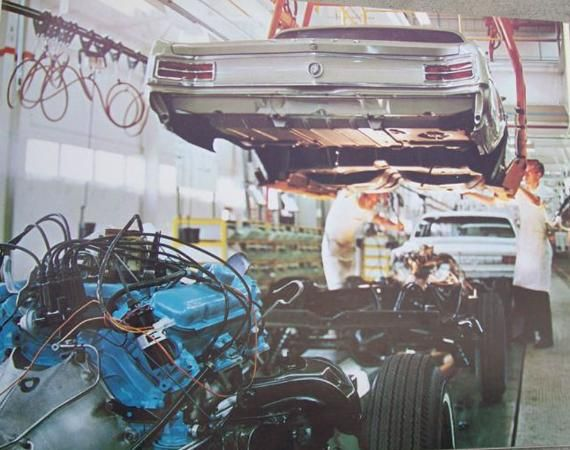 A 1964 Buick Skylark and a 1964 Olds Cutlass on the assembly line at the GM Fremont, CA Assembly Plant.