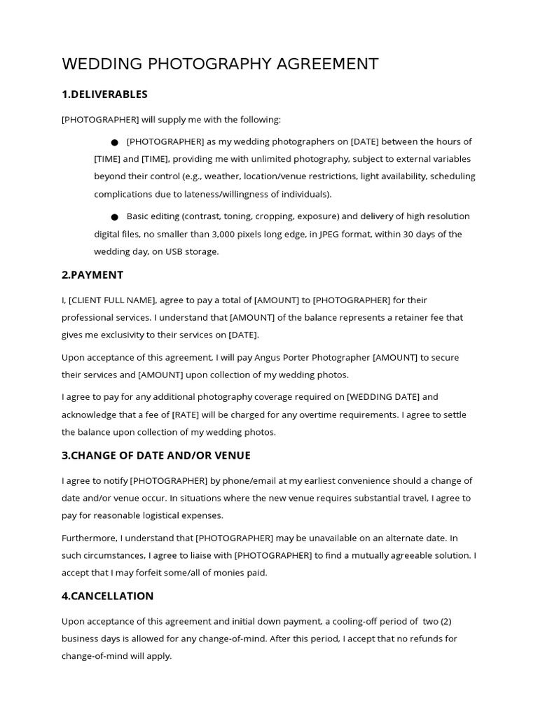 Im Reading Wedding Photography Contract Template By Daniel Cheung On Scribd