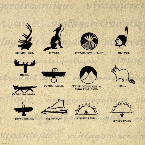 Printable Native American Indian Symbols By Vintageretroantique