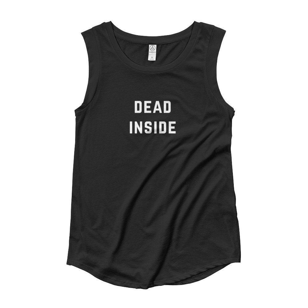#DeadInside Cap Sleeve #BikerTank Top Shirt