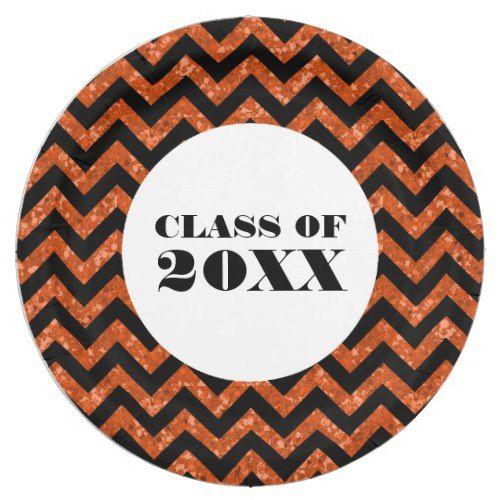Orange Chevron Glitter Graduation Paper Plates  sc 1 st  Pinterest & Orange Chevron Glitter Graduation Paper Plates | Sparkle Graduation ...