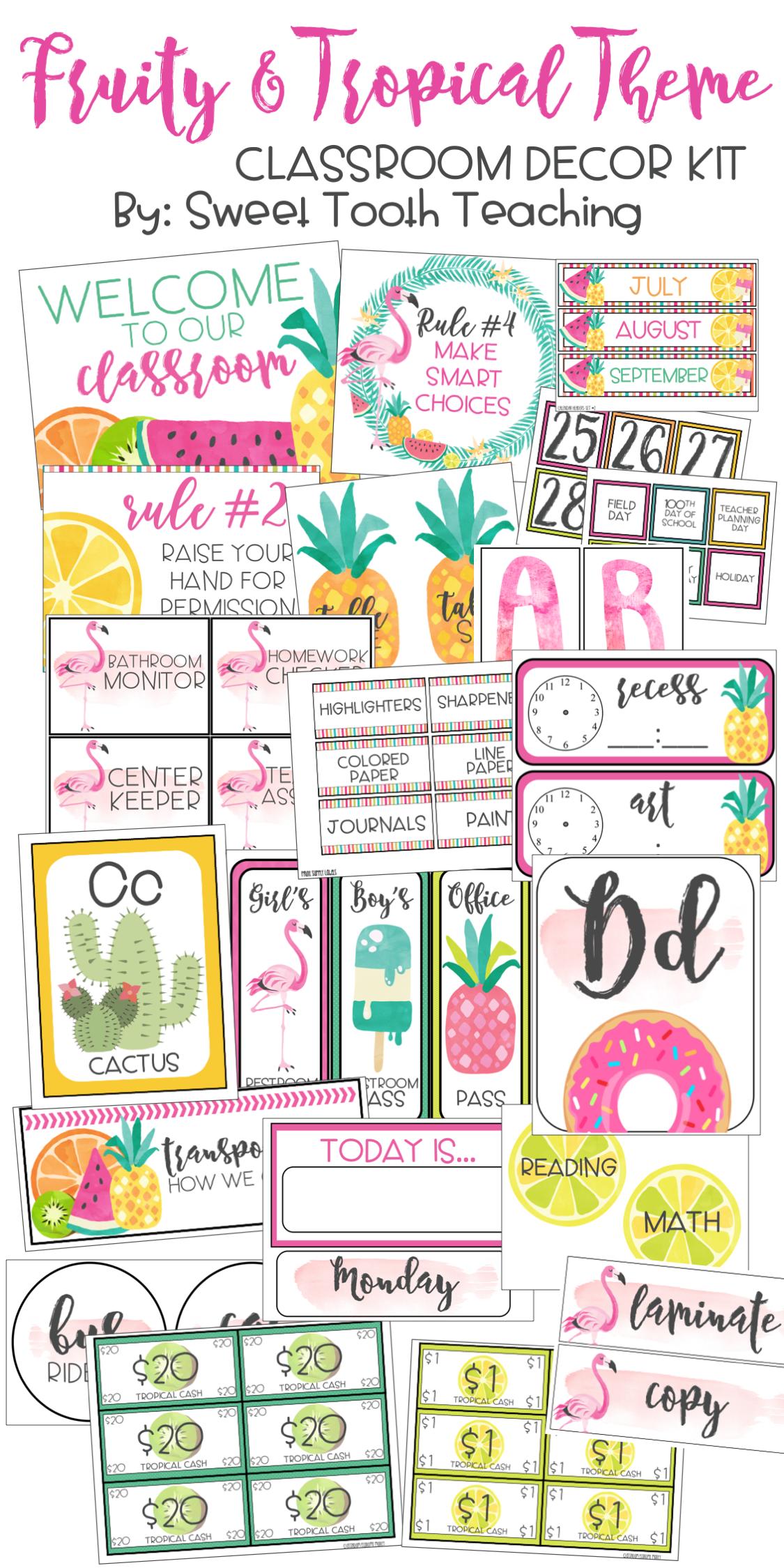 Fruity & Tropical Theme Classroom Decor Pack | Third Grade ...