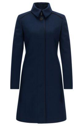 Slim Fit Mantel Aus Schurwoll Mix Mit Paspeln Dunkelblau Winter Coat Dress Clothes Coat