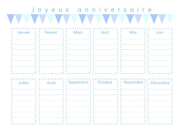 gabulle in wonderland calendrier des anniversaires imprimer birthday planning version bleue. Black Bedroom Furniture Sets. Home Design Ideas