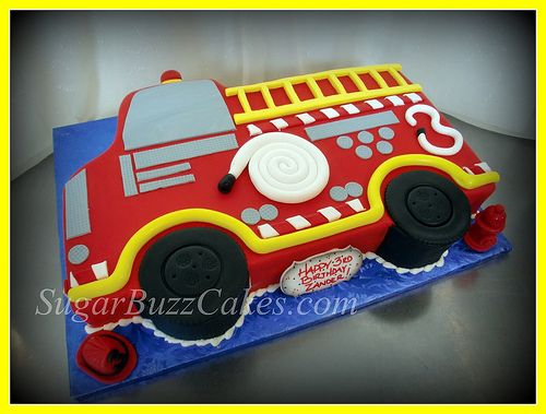 Red Fire Truck Birthday Cake With Images Truck Birthday Cakes