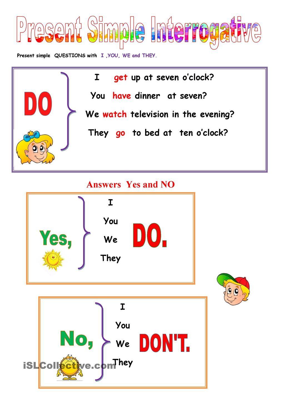 Present SImple Interrogative. | Learn english, English ...