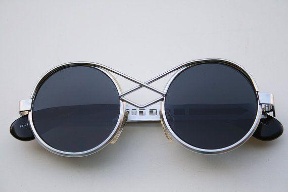 55f0f61177b4e vinate round silver metal sunglasses Steampunk style Hi Tek unusual bridge