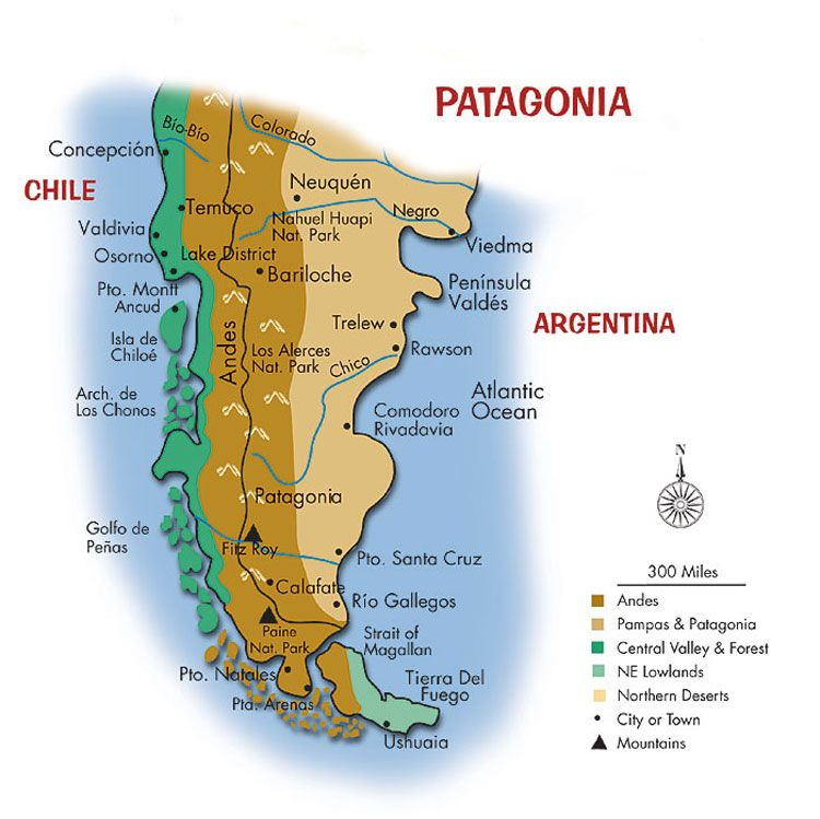 Patagonia region located at the southern end of South America
