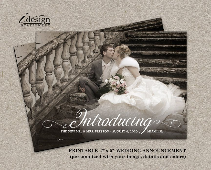 Photo Wedding Announcement Card Elegant Diy Printable