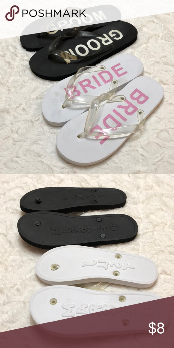 Flip flops Men's size 7-8 Women's size 8 Bride and groom flip flops  Never w…