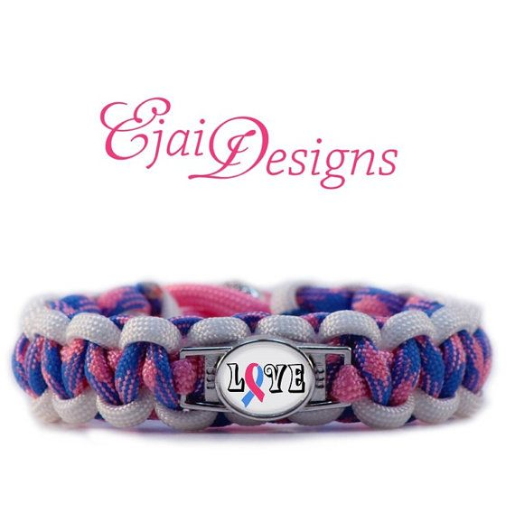 Infant Loss Infertility Inflamatory Male Breast Cancer Pro Life Pink Light Blue Ribbon Awareness 550 Paracord Charm Bracelet