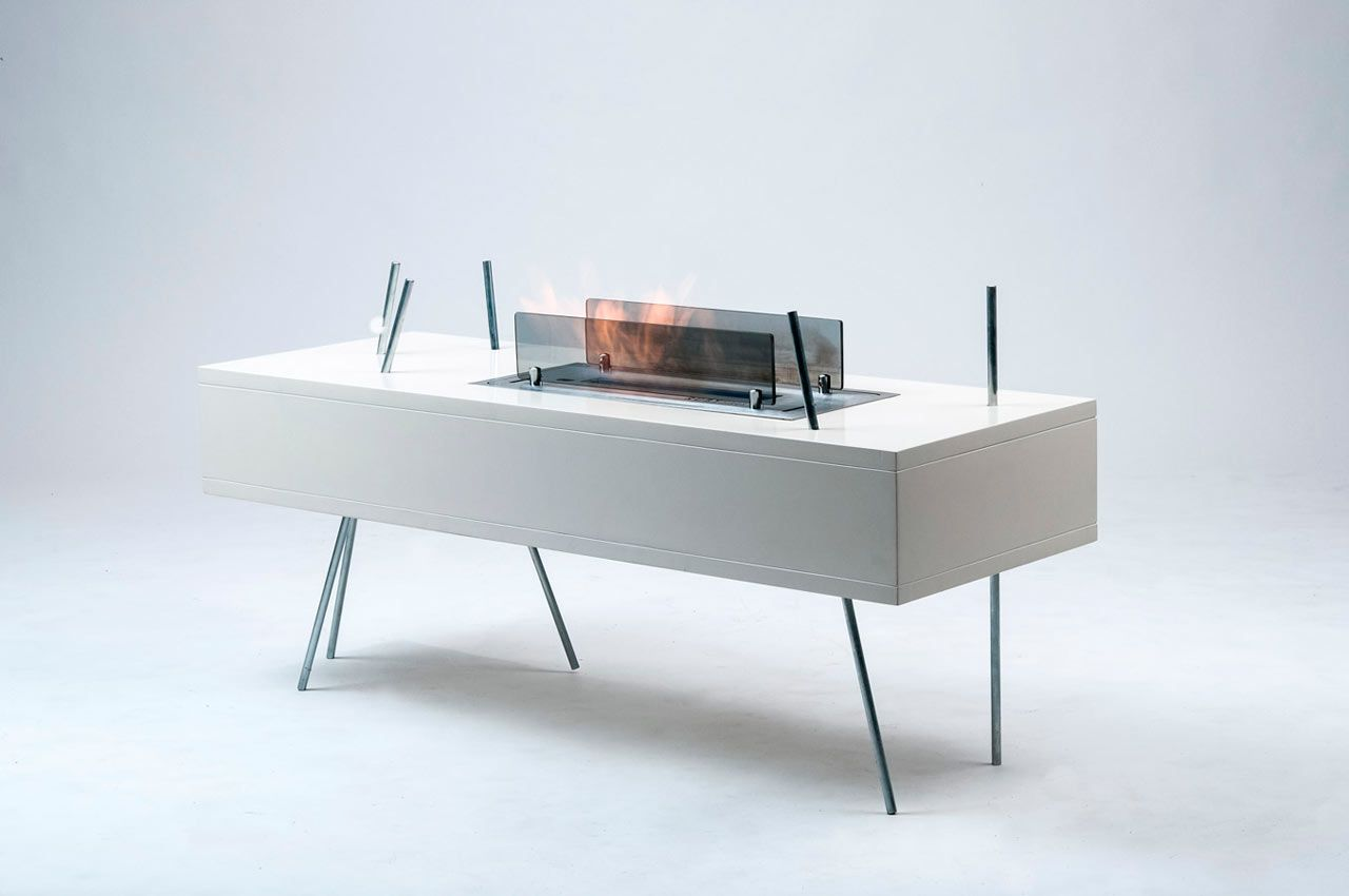 Modern Freestanding Fireplace And Coffee Table In One Freestanding Fireplace Coffee Table Coffee Table Fireplace [ 850 x 1280 Pixel ]
