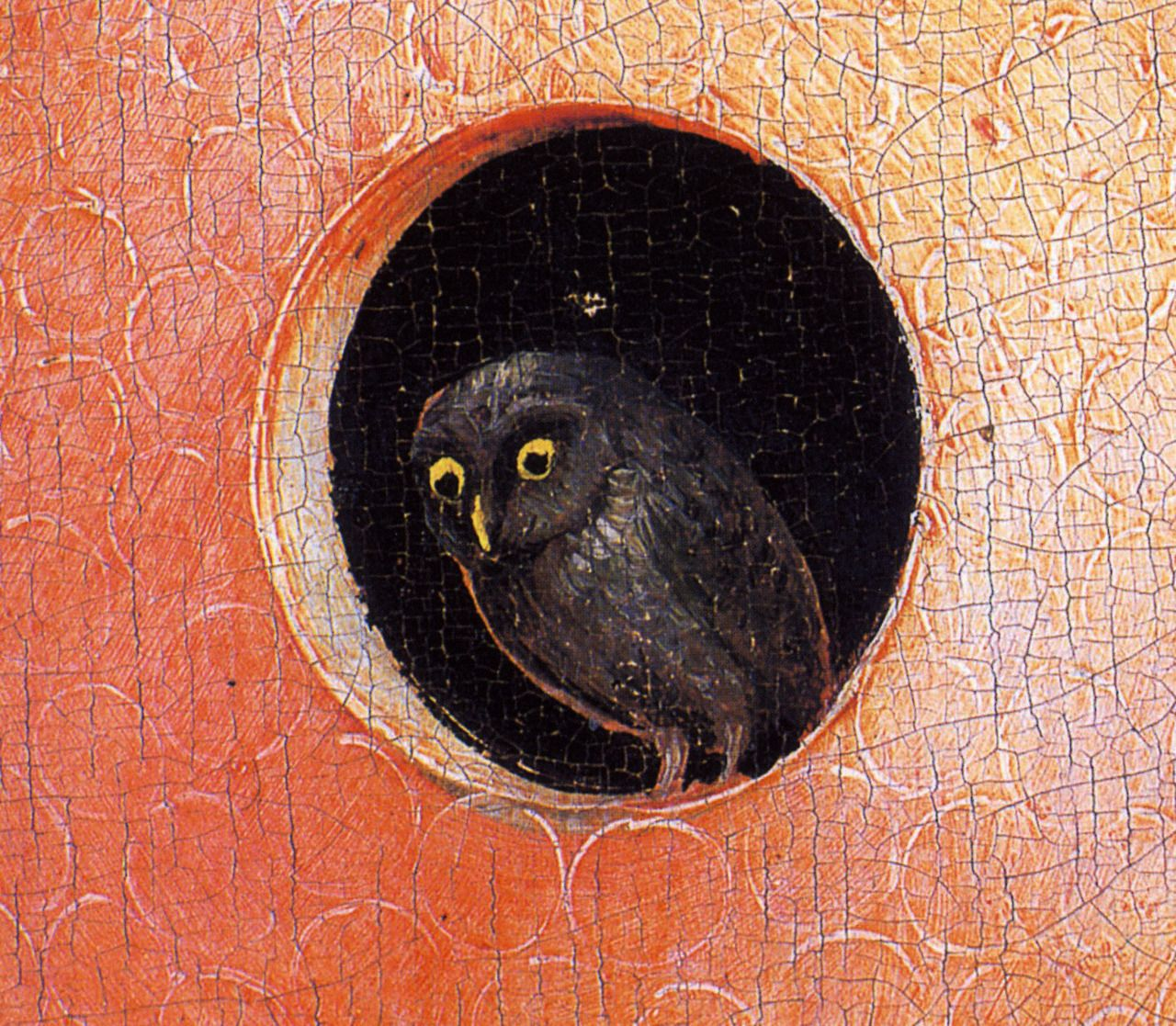 1480-1490 Hieronymus Bosch The Garden of Earthly Delights, Paradise,  Owl center, detail.