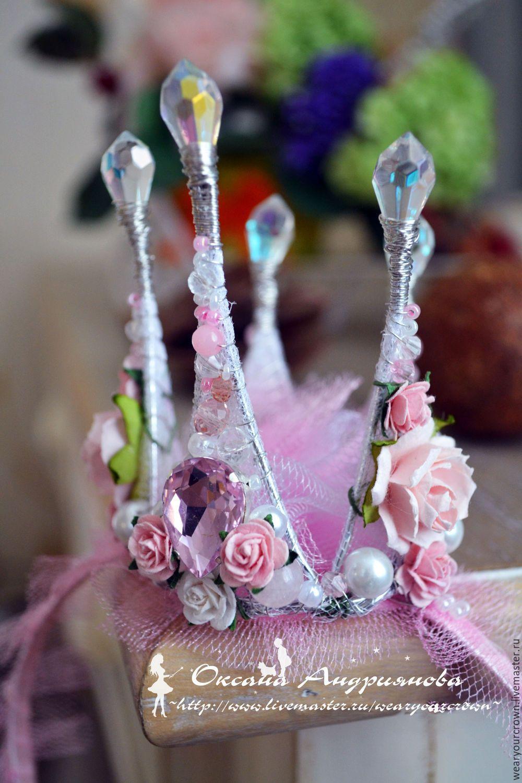 Купить Корона на ободке. Розовая корона с цветами. Корона для принцессы. - бледно-розовый, цветочный