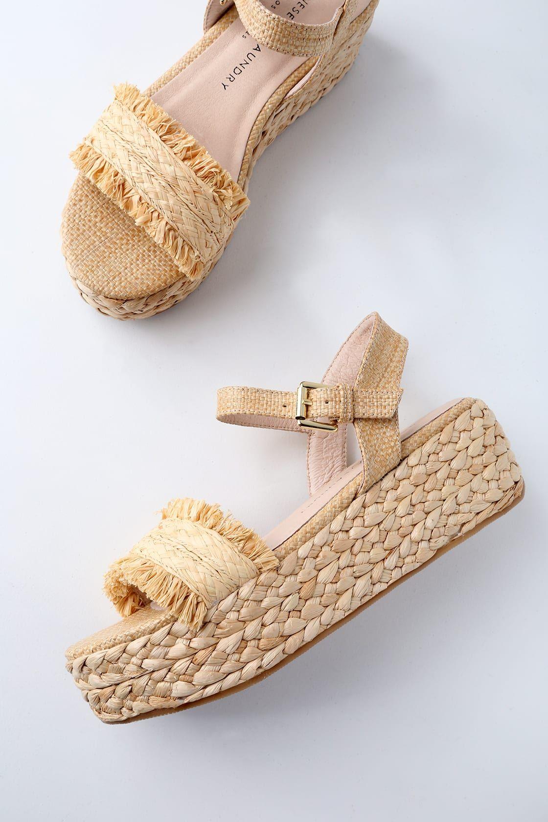 Ziba Natural Straw Flatform Sandals | Flatform sandals, Cute shoes, Nice shoes