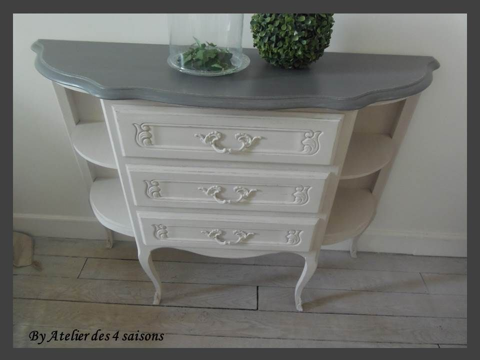 MEUBLE COMMODE atelierdes4saisons DE STYLE LOUIS XV PATINÉ GRIS