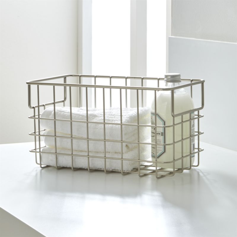 Small Wire Basket - Crate and Barrel | Wire basket, Crates and ...