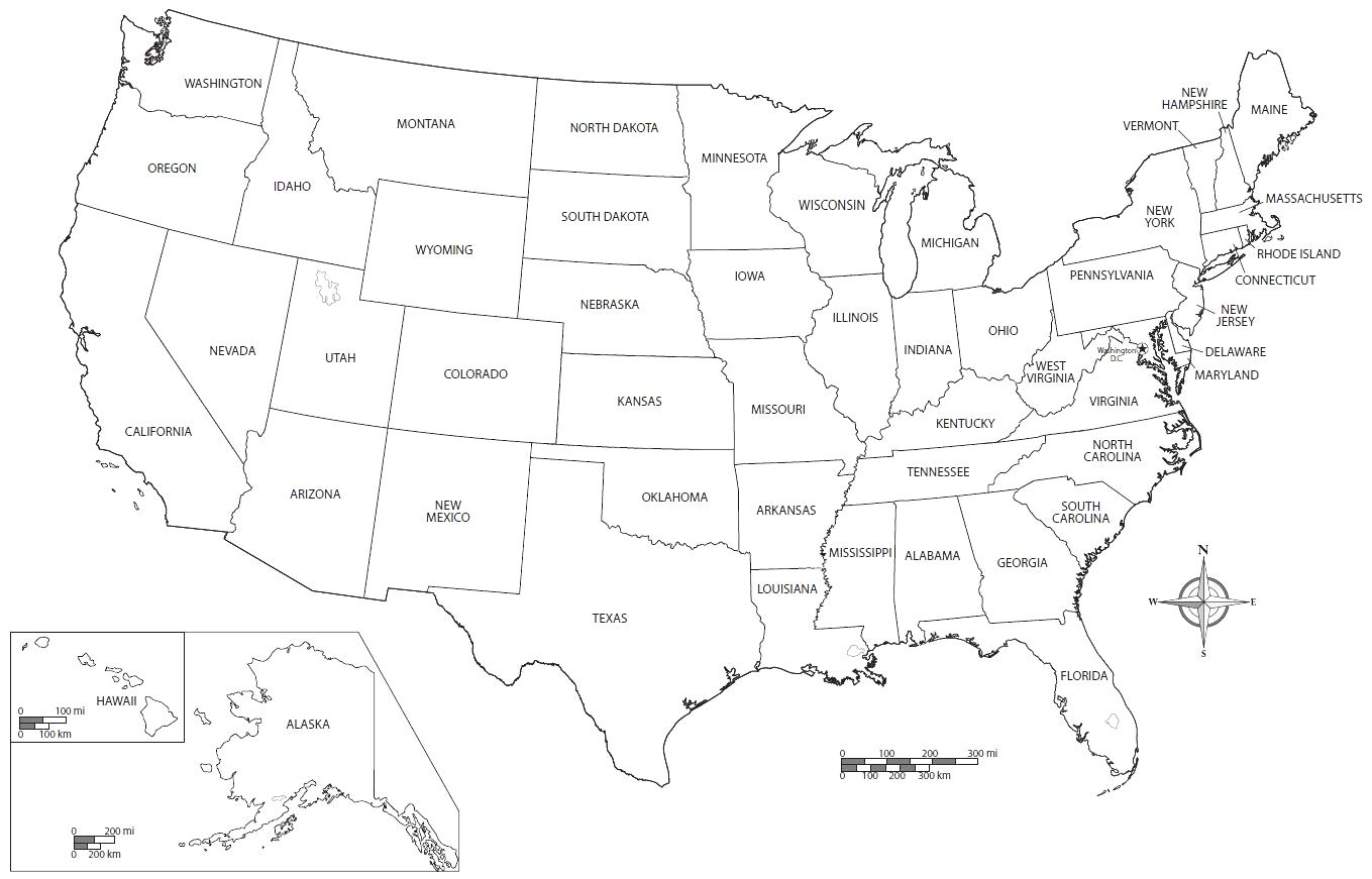 United States Coloring Page Printable Pages Pleasing Map
