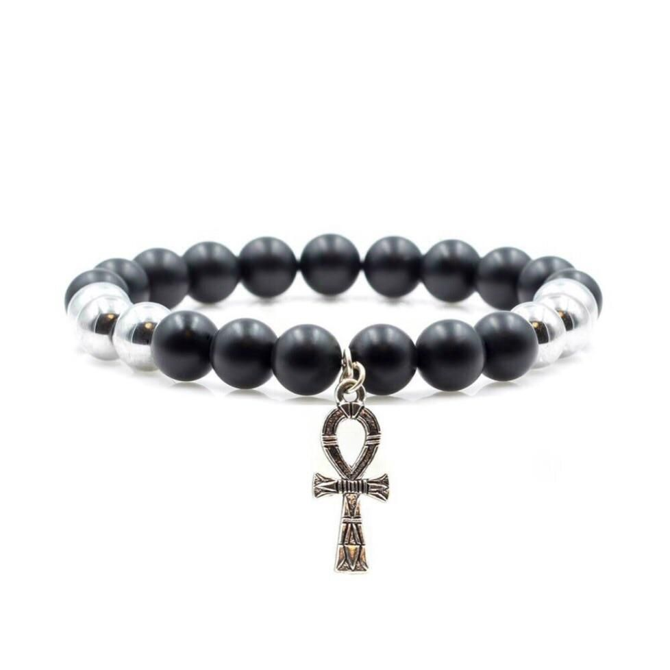 Silver ankh beaded bracelet with matte black and silver hematite in
